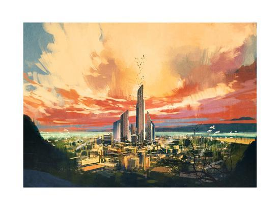 Digital Painting of Futuristic Sci-Fi City with Skyscraper at Sunset,Illustration-Tithi Luadthong-Art Print