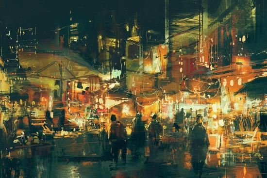 Digital Painting of People Walking in the Market at Night,Illustration-Tithi Luadthong-Art Print