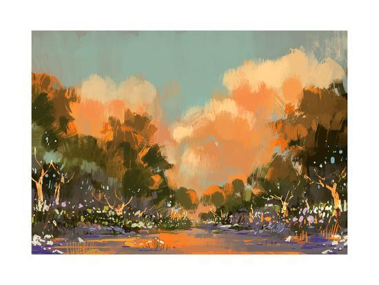 Digital Painting of the Colorful Path in the Forest,Illustration-Tithi Luadthong-Art Print