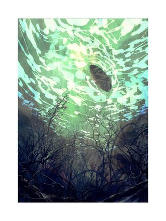 Digital Painting Of Underwater View With The Tree Branch And Stones,Waves  And Reflection Of The Sun Art Print By Tithi Luadthong | Art.com