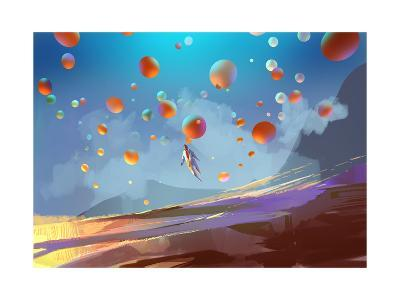 Digital Painting Showing a Human in Colorful Balloons-Tithi Luadthong-Art Print