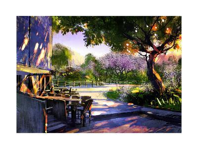 Digital Painting Showing Beautiful Sunny in the Park,Illustration-Tithi Luadthong-Art Print