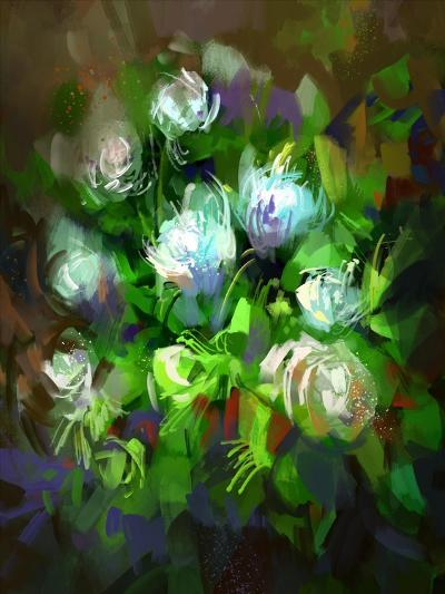 Digital Painting Showing Bunch of White Flowers,Illustration-Tithi Luadthong-Art Print