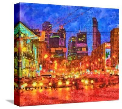 Digital Render-Night Cityscape--Stretched Canvas Print