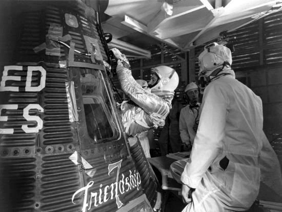 Digitally Restored Photo of Astronaut John Glenn Entering the Friendship 7 Spacecraft--Photographic Print