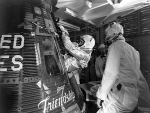 Digitally Restored Photo of Astronaut John Glenn Entering the Friendship 7 Spacecraft
