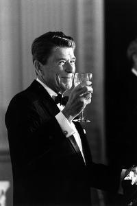Digitally Restored Photo of President Ronald Reagan Making a Toast