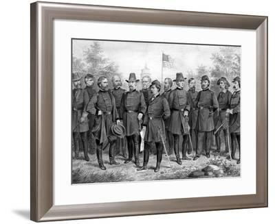 Digitally Restored Print Featuring Famous Union Generals of the Civil War-Stocktrek Images-Framed Photographic Print