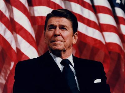 Digitally Restored Vector Photo of President Ronald Reagan in Front of American Flag-Stocktrek Images-Photographic Print