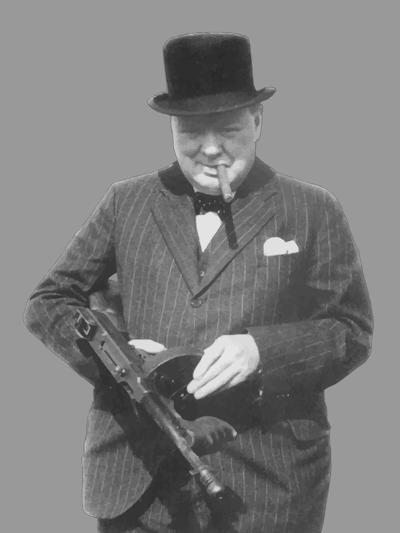 Digitally Restored Vector Photo of Sir Winston Churchill with a Tommy Gun-Stocktrek Images-Photographic Print