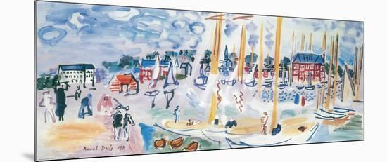 Dimanche a Deauvilie-Raoul Dufy-Mounted Print
