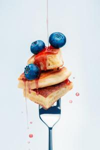 Pancakes with Blueberry and Syrup on Fork by Dina Belenko