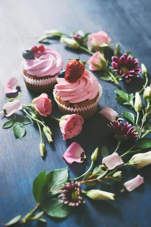 Strawberry Cupcakes with Flowers