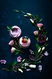 Sweet Cupcakes on Dark Wooden by Dina Belenko