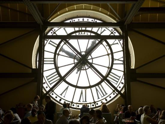 Diners Behind Famous Clocks in the Musee d'Orsay, Paris, France-Jim Zuckerman-Photographic Print