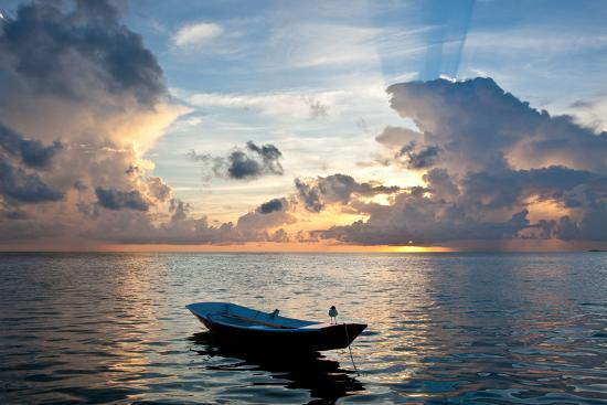 Dinghy Boat in Sea at Sunset, Great Exumand, Bahamas--Photographic Print