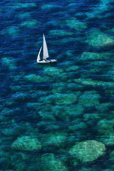 Dinghy off Bonifacio-Jon Hicks-Photographic Print