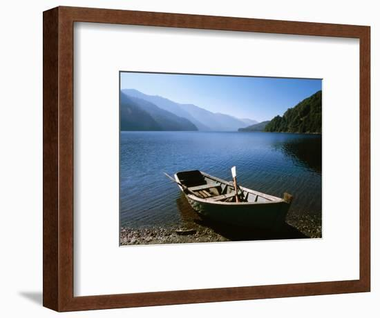 Dinghy on Beach at Lago Curruhue, Lake District-Grant Dixon-Framed Photographic Print
