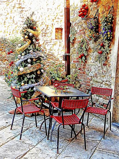 Dining Outside At Christmas Panicale-Dorothy Berry-Lound-Giclee Print