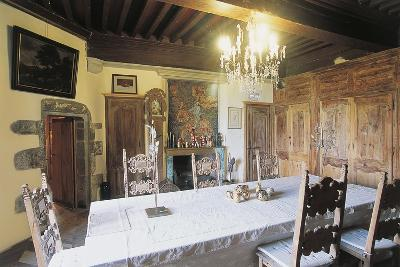 Dining Room, 1659, Chateau of Lespinasse, 12th Century, Auvergne, France--Photographic Print