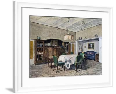 Dining Room in Munich, by Bertsch, Watercolor by Von Wihl, Germany, 20th Century--Framed Giclee Print