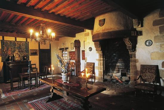 Dining Room of Chateau of Busseol, Founded in 12th Century, Auvergne, France--Photographic Print