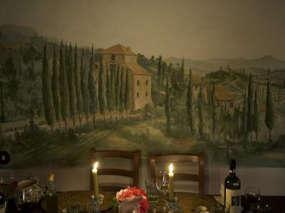 Dining Room Table with Tuscan Landscape Painted on Wall Behind-Keenpress-Photographic Print