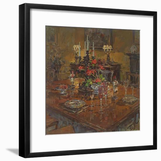 Dining Room with Geraniums-Susan Ryder-Framed Premium Giclee Print