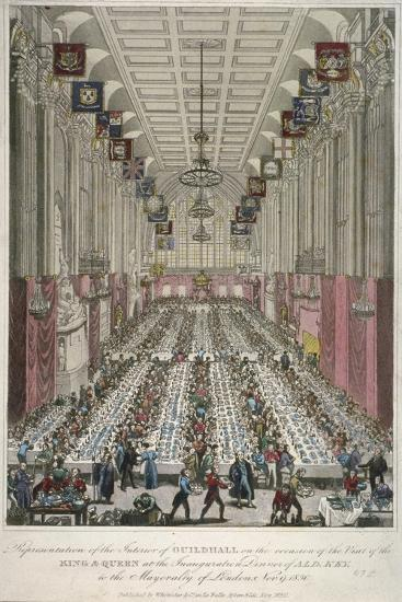 Dinner in the Guildhall, City of London, 1830--Giclee Print