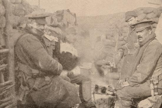 Dinner in the trenches, c1915 (1928)-Unknown-Photographic Print
