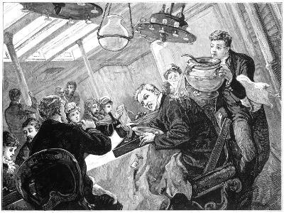 Dinner Time in the First Class Dining Saloon of an Atlantic Steamer on a Stormy Day, C1890--Giclee Print