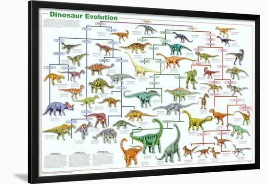Dinosaur Evolution Educational Science Chart Poster--Lamina Framed Poster