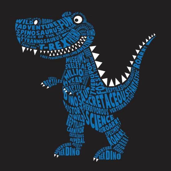 Dinosaur Illustration, Typography, T-Shirt Graphics, Vectors- Syquallo-Art Print