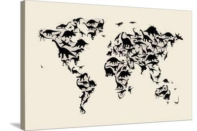 Dinosaur Map of the World Map-Michael Tompsett-Stretched Canvas Print