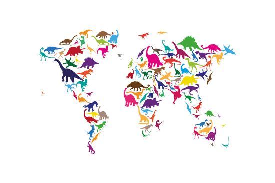 Dinosaur Map of the World Map-Michael Tompsett-Art Print