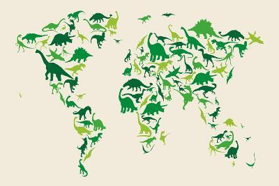 Dinosaur Map of the World Map-Michael Tompsett-Art Print