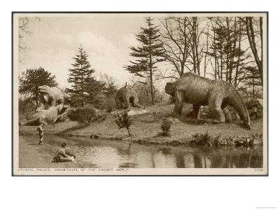Dinosaur Models in the Grounds of the Crystal Palace Sydenham--Giclee Print