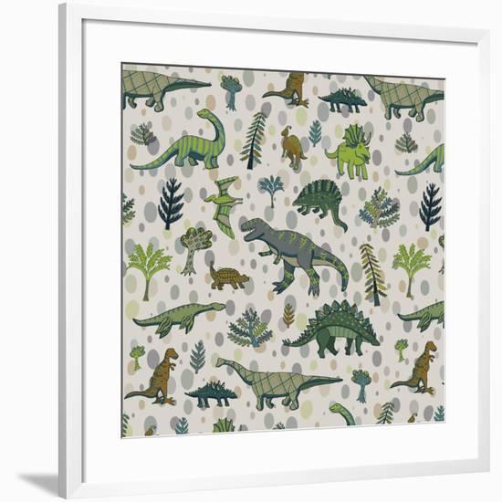 Dinosaur Pattern-GooseFrol-Framed Premium Giclee Print