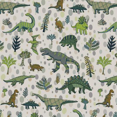Dinosaur Pattern-GooseFrol-Art Print