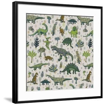 Dinosaur Pattern-GooseFrol-Framed Art Print
