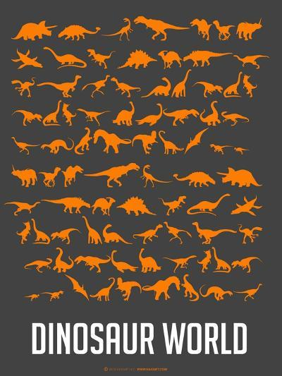Dinosaur Poster Orange-NaxArt-Art Print