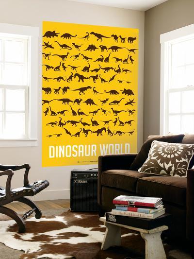 Dinosaur Poster Yellow-NaxArt-Wall Mural