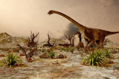 Dinosaur. Prehistoric Jungle, Landscape, Valley with Dinosaurs.-Pavel Chagochkin-Art Print
