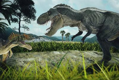 Dinosaur Scene of the Two Dinosaurs Fighting Each- metha1819-Photographic Print