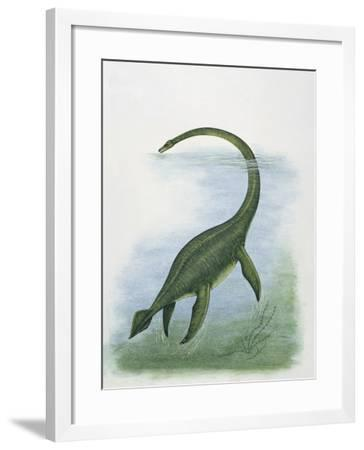 Dinosaur Swimming in River Water--Framed Photographic Print