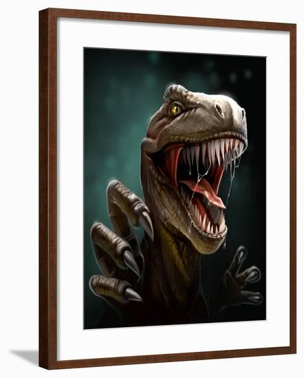 Dinosaur with Teeth and Claws, Close-Up- Antracit-Framed Art Print