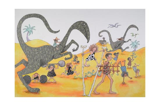 Dinosaurs Family Party-Susie Jenkin Pearce-Art Print