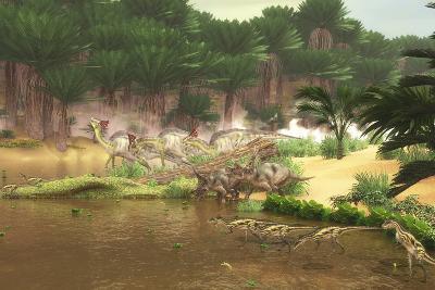 Dinosaurs Grazing Along a Cretaceous River-Stocktrek Images-Art Print