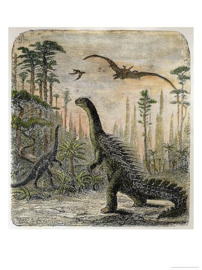 Dinosaurs of the Jurassic Period: a Stegosaurus with a Compsognathus in the Background-A^ Jobin-Giclee Print