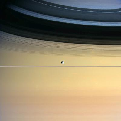 Dione And Ring Shadows on Saturn, Cassini--Photographic Print